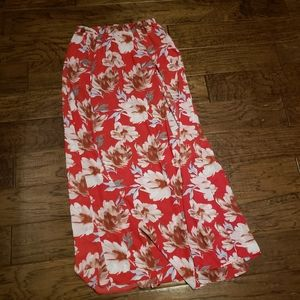 Pink Floral Walk-Through Maxi Skirt - Small - NWT